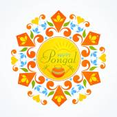 Greeting card design for Pongal festival celebrations. — Stock Vector