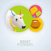 Concept of celebrating Happy Pongal festival. — Vector de stock