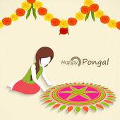 Celebration of South Indian festival, Happy Pongal. — Stockvector