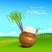 Concept of celebrating South Indian festival Happy Pongal. — ストックベクタ