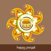 Beautiful rangoli for Happy Pongal festival celebrations. — Stock Vector