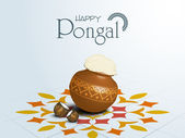 Happy Pongal festival of South India celebration concept. — Stockvektor