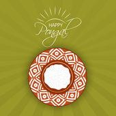 Happy Pongal festival celebration with traditional pot. — Stockvektor