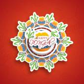 Concept of South Indian harvesting festival, Happy Pongal celebrations. — Vector de stock