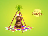 Concept of South Indian festival, Happy Pongal celebrations. — Stock Vector