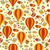 Seamless pattern with birds and hot air balloons. — Stock Vector