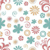 Seamless  pattern with flowers and spiral. — Vetor de Stock