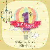 Kids 1st Birthday Invitation card design. — Stock Vector