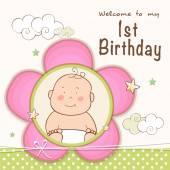 1st Birthday Invitation card design. — Stock Vector