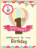 Kids 1st Birthday celebration Invitation card design. — Stock Vector