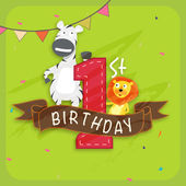 Kids 1st birthday Invitation card. — Stock Vector