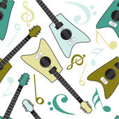 Musical seamless pattern with guitar. — Stock Vector