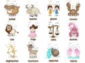 Twelve Zodiac or Horoscope sign concept. — 图库矢量图片