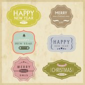 Christmas and New Year 2015 celebration vintage label or sticker — Stock Vector