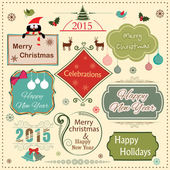 Happy New Year 2015 and Merry Christmas celebration vintage labe — Stock Vector