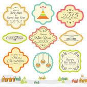 Vintage label or sticker for Christmas and New Year celebration. — Stock Vector