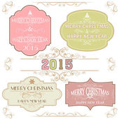 Vintage sticker or label for New Year and Christmas celebration. — Stock Vector