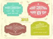 New Year and Christmas celebration vintage label or sticker. — Stock Vector