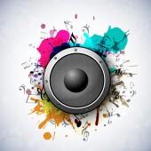 Concept of speaker on grungy art. — Stock Vector