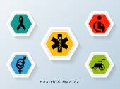 Poster and banner with medical signs and symbols. — Stock Vector