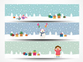 Web header or banner set for Merry Christmas. — Stock Vector