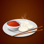 Momos with chopstick and sause. — Stock Vector