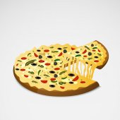 Delicious pizza with lifted slice. — Stock Vector