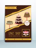 Concept of menu and banner for cake shop. — Stock Vector