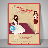 Poster, banner and flyer for fashion show. — Stock Vector