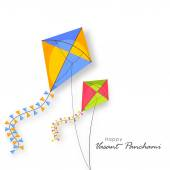 Shiny kites for Happy Vasant Panchami celebration. — Stock Vector