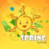 Spring season concept with smiling sun. — Vetorial Stock