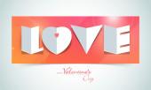 Happy Valentine's Day celebration with Love text. — Vector de stock
