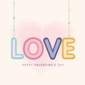 Happy Valentine's Day celebration with hanging text. — Stock Vector