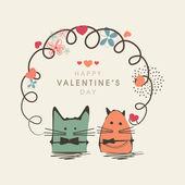 Happy Valentine's Day celebration with kiddish cartoon. — Stock Vector