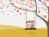 Cute kids swinging for Valentine's Day celebration. — Stock Vector
