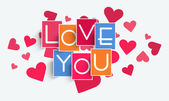 Happy Valentine's Day celebration with pink heart. — Stockvektor