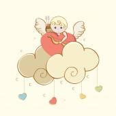 Happy Valentine's Day celebration with cute cupid. — Vector de stock