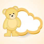 Stylish blank frame shape of cloud for a message with cute bear. — Stock Vector