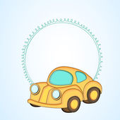 Simple blank frame for your message with kiddish style car. — Stock Vector