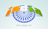 Stylish text with Ashoka Wheel for Indian Republic Day. — Wektor stockowy