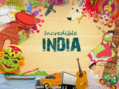 Poster or banner design of Incredible India. — Stok Vektör