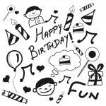Concept of Happy Birthday doodles. — Stock Vector #61552589