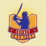 Batsman with bat and winning shield. — Stock Vector #61557435
