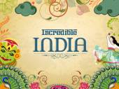 Poster or banner design of Incredible India. — Vettoriale Stock