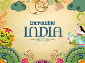 Poster or banner design of Incredible India. — Vector de stock