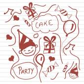 Concept of Happy Birthday doodles. — Stock Vector