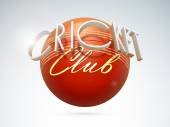 3D text with ball for Cricket Club. — Vecteur