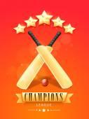 Shiny bats and ball for Cricket Champions League. — Stock Vector