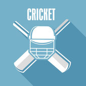 Cricket text with cricket objects. — Vector de stock