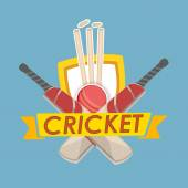 Kricket-Text mit Cricket-Match-Objekt. — Stockvektor
